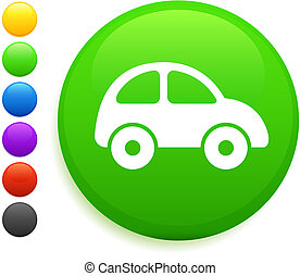 voiture, bouton, icône, rond, internet
