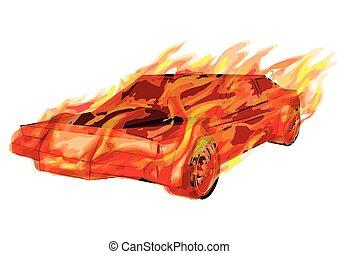 voiture, brûlé