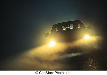 voiture, brouillard, conduite