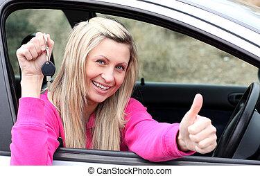 voiture, bying, clã©, chauffeur, gai, femme, projection, nouveau, après