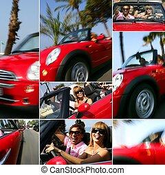 voiture, cabriolet, côte, rouges, promenade