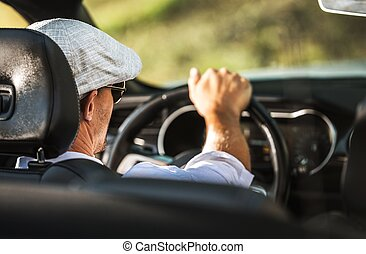 voiture, cabriolet, conduite hommes