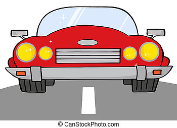 voiture, cabriolet, route, rouges