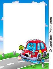 voiture, cadre, dessin animé, laver