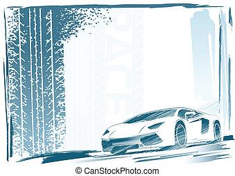 voiture, cadre, sport