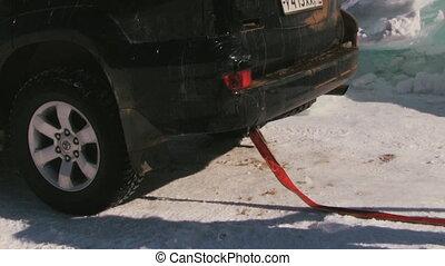 voiture, calé, route, neigeux