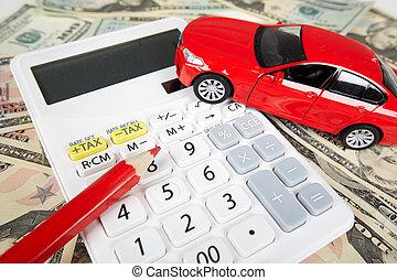 voiture, calculator., argent