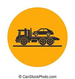 voiture, camion, remorquage, cassé