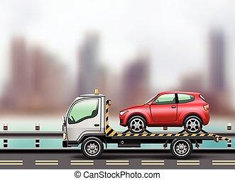 voiture, camion, remorquage, chargé haut