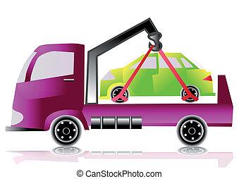 voiture, camion, remorquage