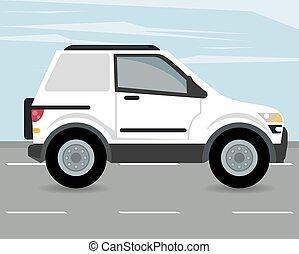 voiture, campeur, véhicule, icône, mockup