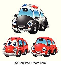 voiture, caractère, dessin animé, illustration, collections