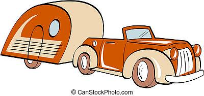 voiture, caravane, camping car, campeur, camping