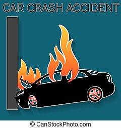 voiture, carsh, brûlé