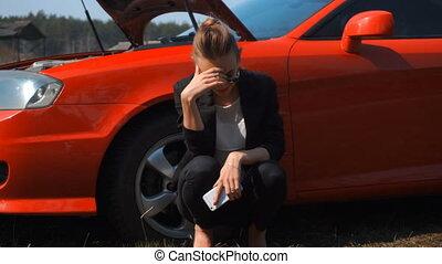 voiture, cassé, girl, rouges, triste