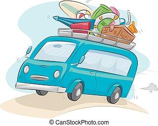 voiture, cavalcade, voyage, camping