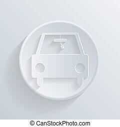 voiture, cercle, shadow., icône