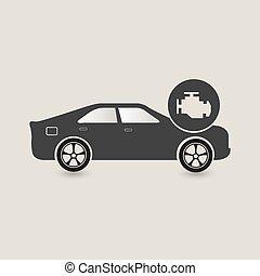 voiture, chèque, icône