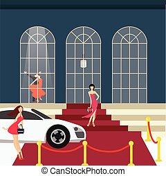 voiture, charme, fille partie, moquette rouge