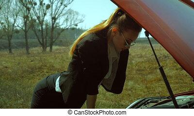 voiture, chaud, regarde, sous, girl, capuchon