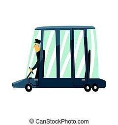 voiture, chauffeur, illustration, vecteur, noir, limousine, dessin animé