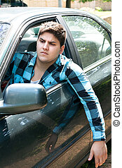voiture, chauffeur, irrité