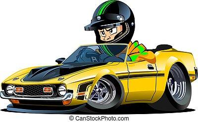 voiture, chauffeur, isolé, retro, sport, dessin animé