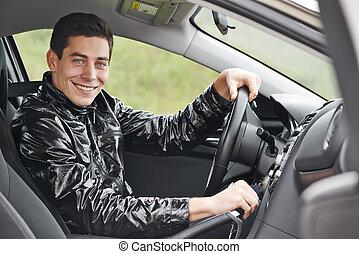 voiture, chauffeur, jeune homme