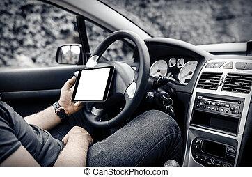 voiture, chauffeur, pc tablette