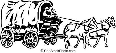 voiture, chevaux