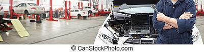 voiture, clé, mains, garage., mécanicien