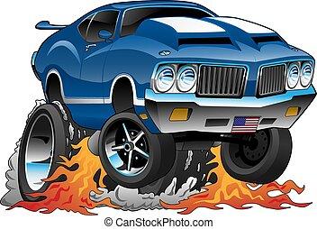 voiture classique, années soixante-dix, tige, américain, illustration, chaud, vecteur, muscle, dessin animé