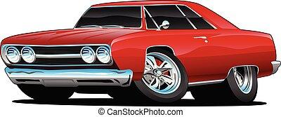 voiture classique, isolé, illustration, vecteur, muscle, dessin animé