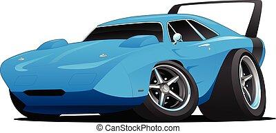 voiture classique, tige, américain, chaud, muscle