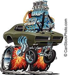 voiture classique, tige, américain, illustration, chaud, vecteur, muscle, dessin animé