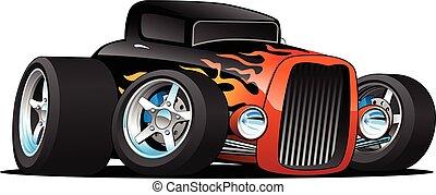 voiture classique, tige, illustration, coutume, chaud, vecteur, coupé, dessin animé