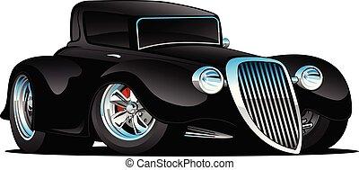 voiture classique, tige, illustration, coutume, chaud, vecteur, noir, coupé, dessin animé