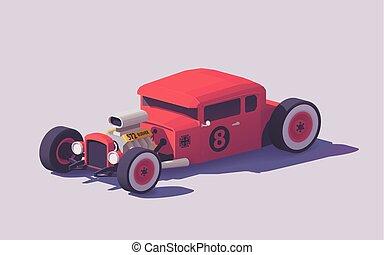 voiture classique, tige, poly, chaud, vecteur, bas