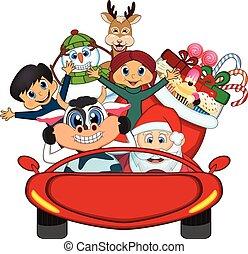 voiture, claus, santa, conduite, rouges