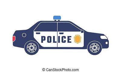 voiture, clignotant, icône, police, lumières
