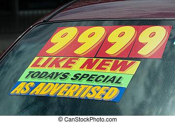 voiture, coût, utilisé, autocollant, lot