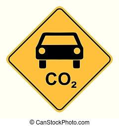 voiture, co2, panneaux signalisations