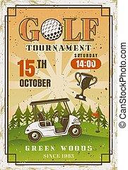 voiture, coloré, affiche, champ, vendange, golf