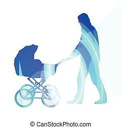 voiture, coloré, marche, bébé, illustration, fond, homme, papa, promeneurs, concept, silhouette