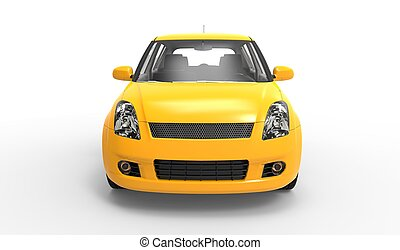 voiture compacte, 2, moderne, jaune