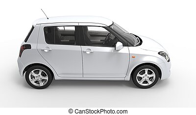 voiture compacte, blanc, moderne