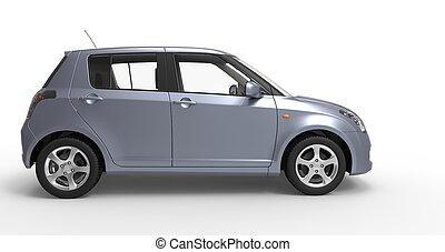 voiture compacte, moderne, bleu