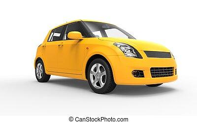 voiture compacte, moderne, jaune