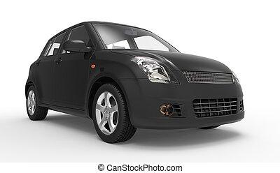 voiture compacte, moderne, noir