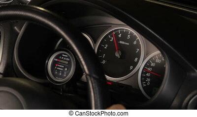 voiture, compteur vitesse, jauges
